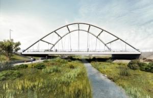 Puente arco sobre la rambla del Cañuelo en Roquetas de Mar