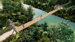 Puente colgante sobre el río Cubillas